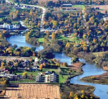 Autumn aerial view of Mitchell a small community in Perth County, Ontario, Canada