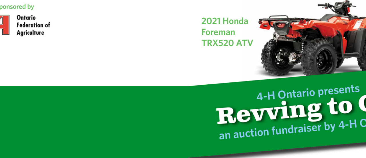 4-H Ontario auctions new Honda ATV, donated by the Ontario Federation of Agriculture